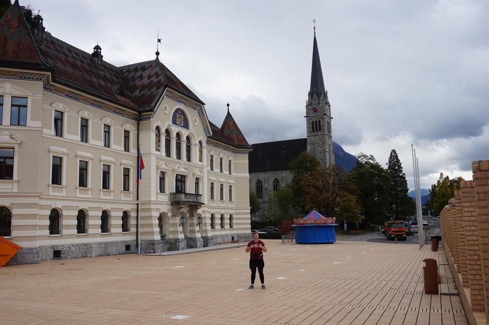 Getting a photo in Vaduz, Liechtenstein.