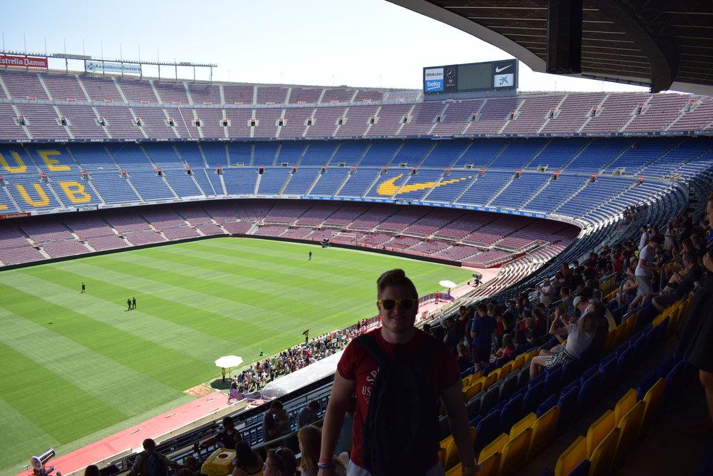 At Camp Nou in Barcelona, Spain.