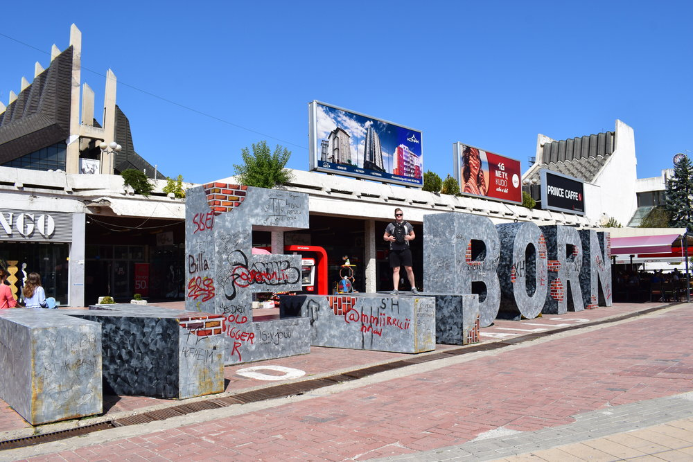 At the Newborn monument is Pristina, Kosovo.