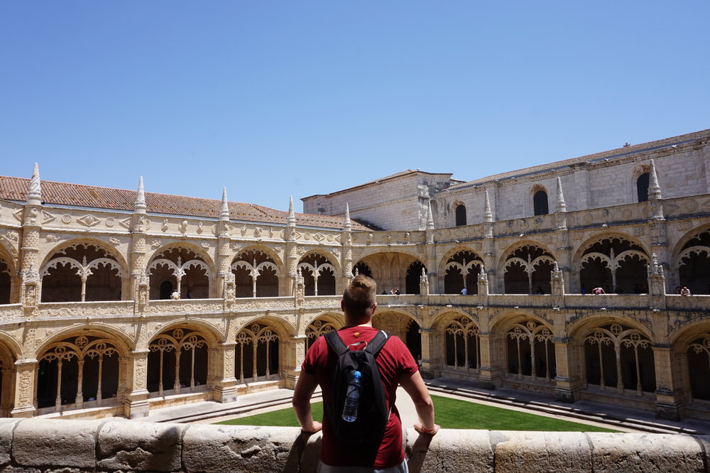 Enjoying the sunshine at Jerónimo's Monastery in Lisbon, Portugal.