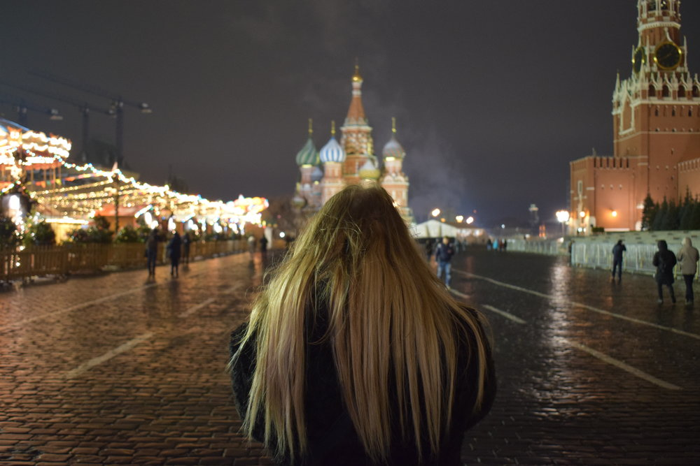 Standing in Red Square looking towards Saint Basil's Cathedral.