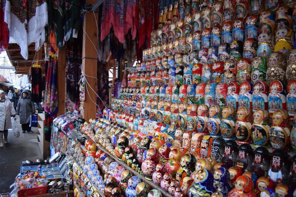 Matryoshka dolls on sale at Ismailovsky Market