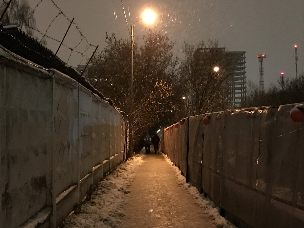 The alleyway between VEB Arena and Zorge.