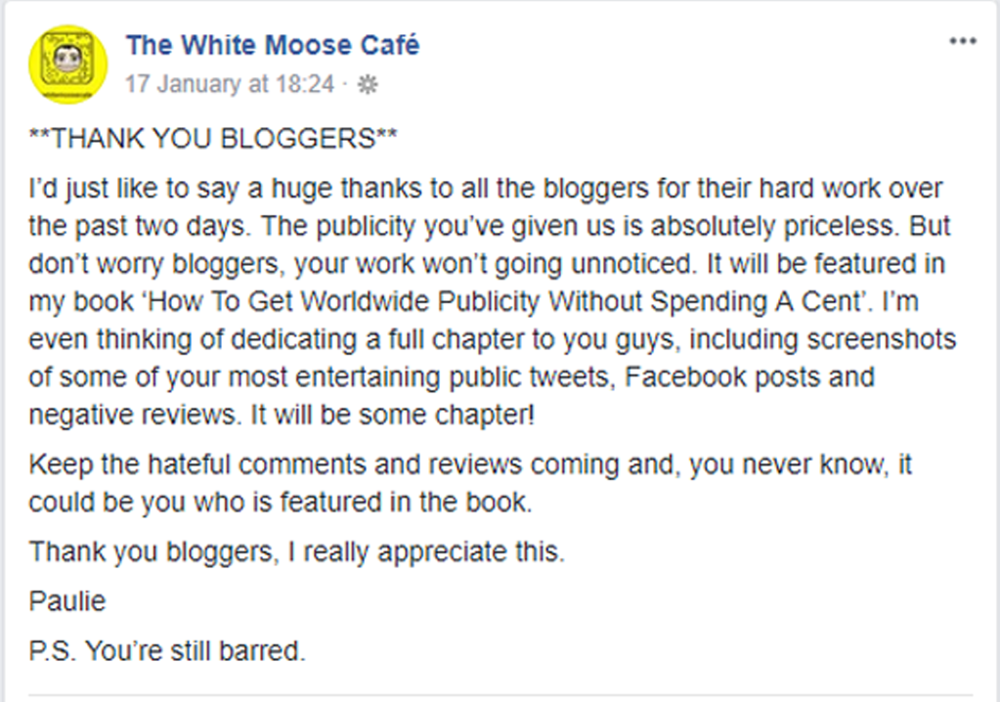 White Moose's sarcastic message of thanks. Image credit:  The White Moose Café / Facebook
