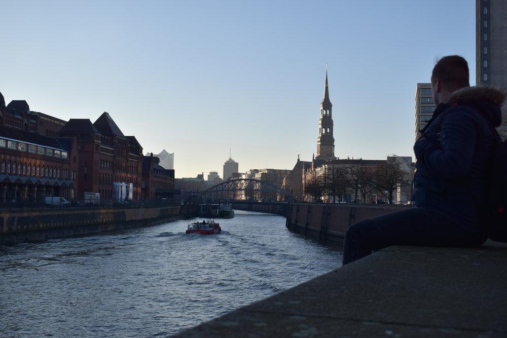Enjoying a riverside view in Hamburg.