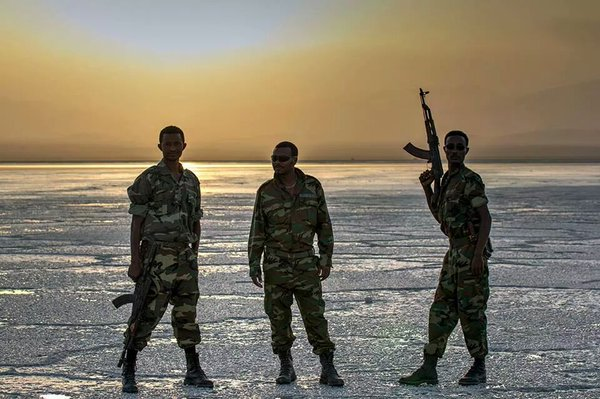 Armed Ethiopian soldiers, a sight that can be seen on Lupine Travel's    Somaliland & Ethiopia tour   . Image credit:    Dylan Harris   /   Twitter