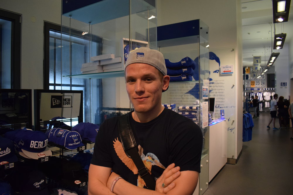 Inside the Hertha Berlin store at the Olympiastadion.
