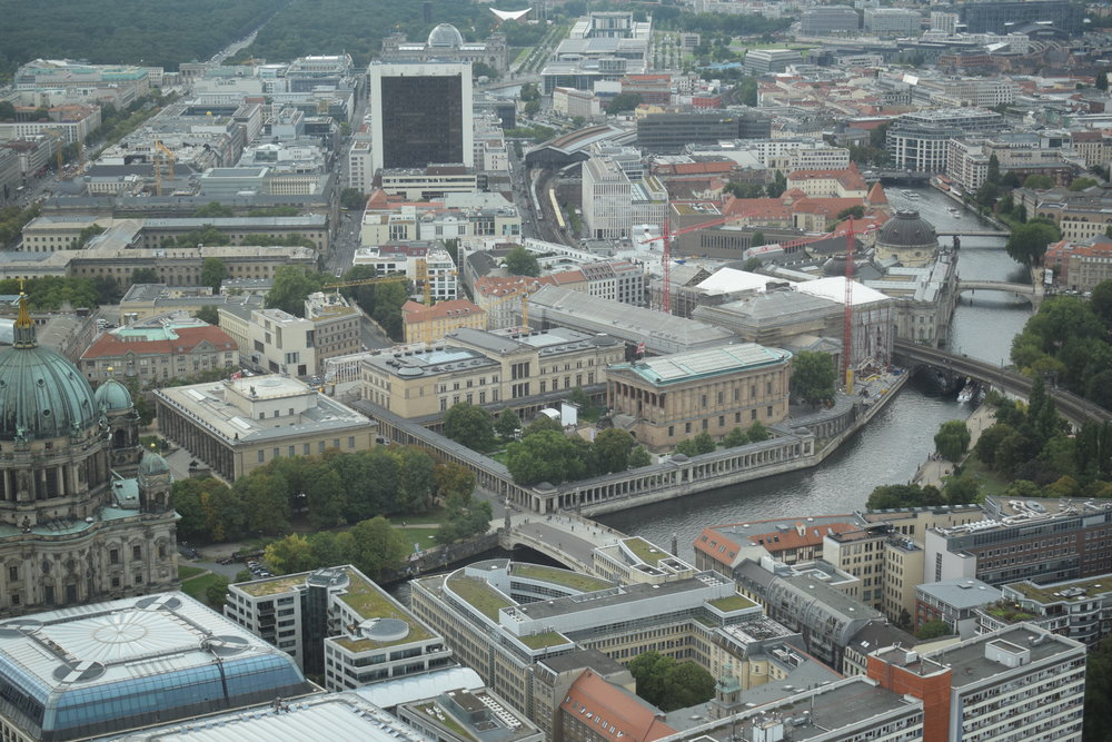 Looking down over the River Spree and Berlin from the TV Tower.