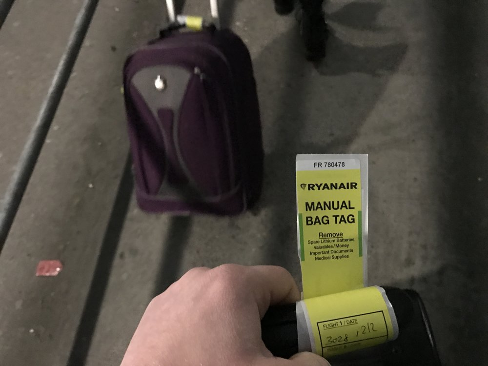 Expect to get one of these bright yellow tags if you haven't purchased priority boarding.