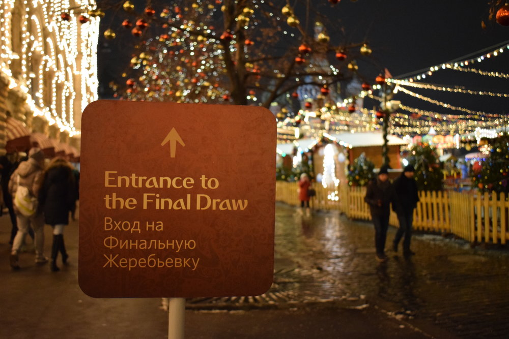 A sign for the Entrance to the 2018 World Cup Final draw in Red Square, Moscow.