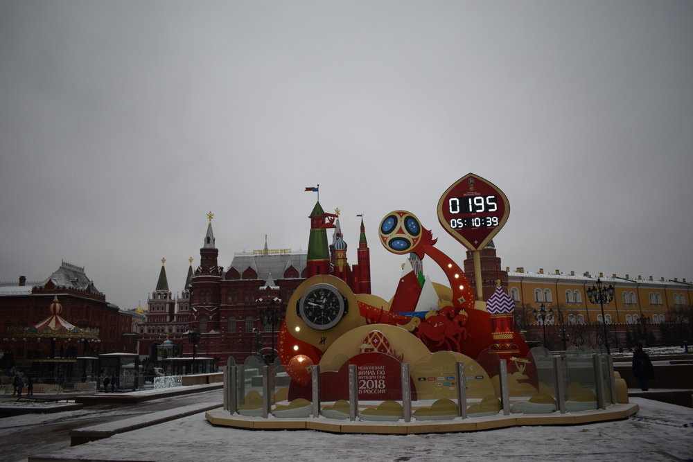 The 2018 FIFA World Cup countdown clock outside the Kremlin in Moscow.