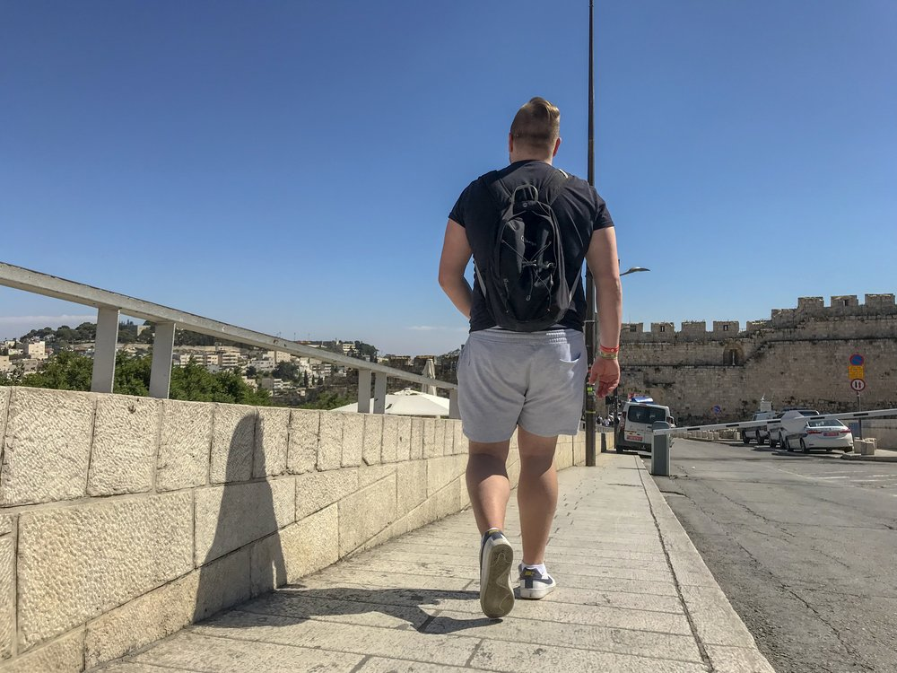 Soaking up the sun in Jerusalem.