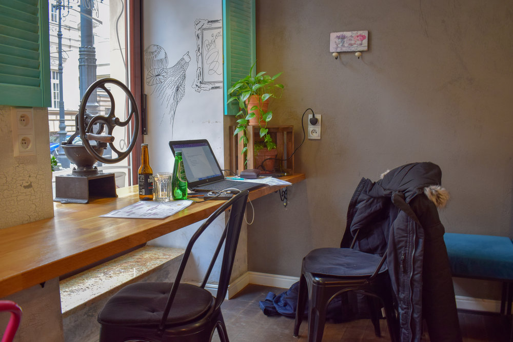 My blogging setup at a cafe in Krakow.