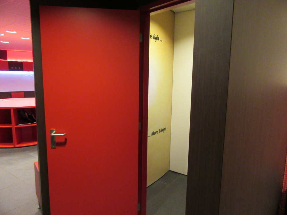 Inside PSV's home dressing room. On the right is the prayer room built for Kone, while the room on the   left hand   side is where the players get changed.
