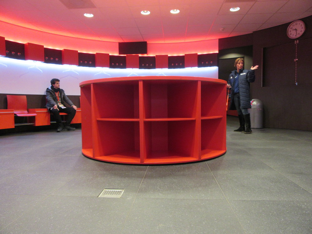 PSV Eindhoven's changing room.