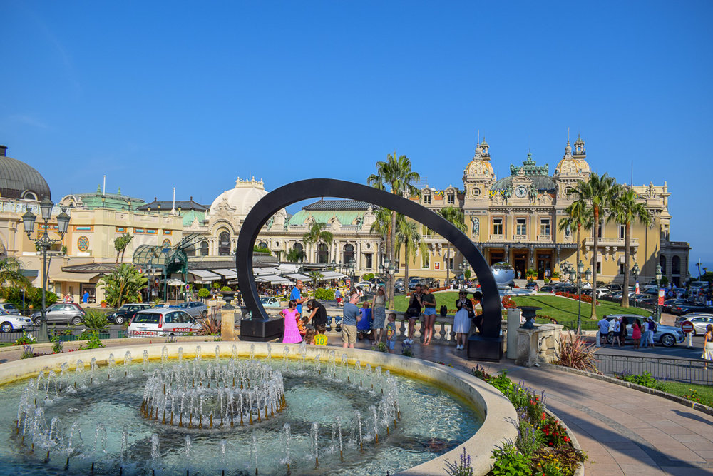 Monte Carlo's main square with the casino in the background.