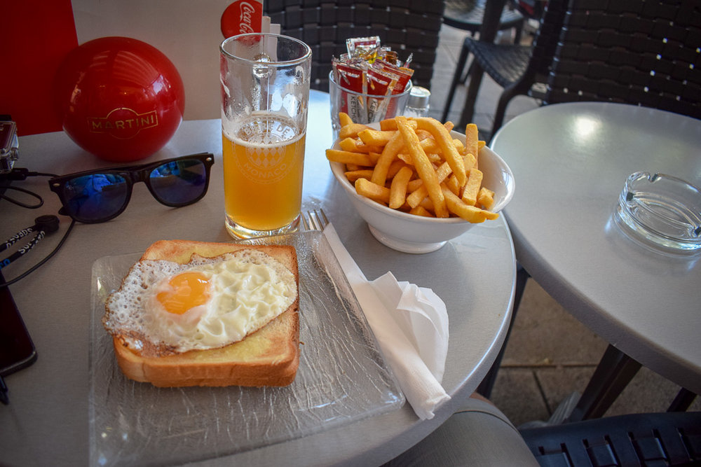 I went cheap and cheerful in Monaco - a croque monsieur washed down with Monaco Biere De Monaco.