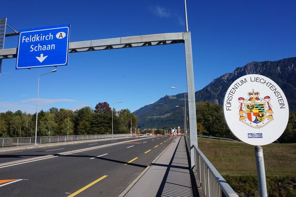 The Zolstrasse Road Bridge which straddles the border between Switzerland and Liechtenstein.