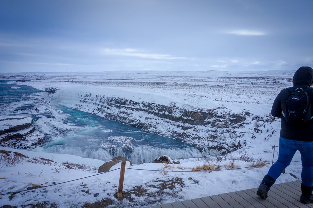 Gullfoss, a waterfall on the Golden Circle, is one of Iceland's must-visit destinations.