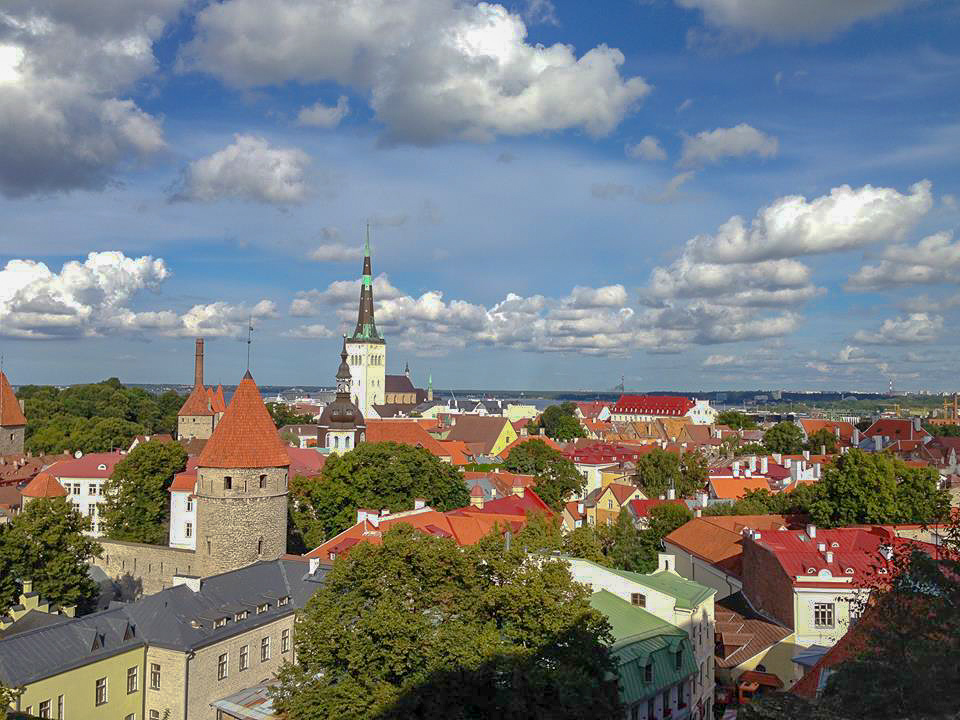 Looking out over Tallinn, Estonia - a skyline dominated by St Olaf's Church.