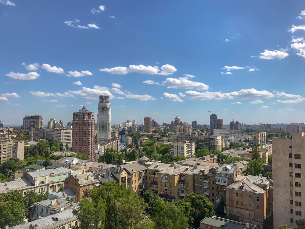 The vast, sprawling Kiev skyline basks in the sunshine.