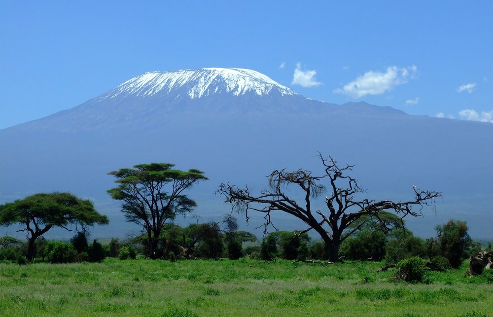 Mount Kilimanjaro dominates the skyline on this otherwise flat African plain.