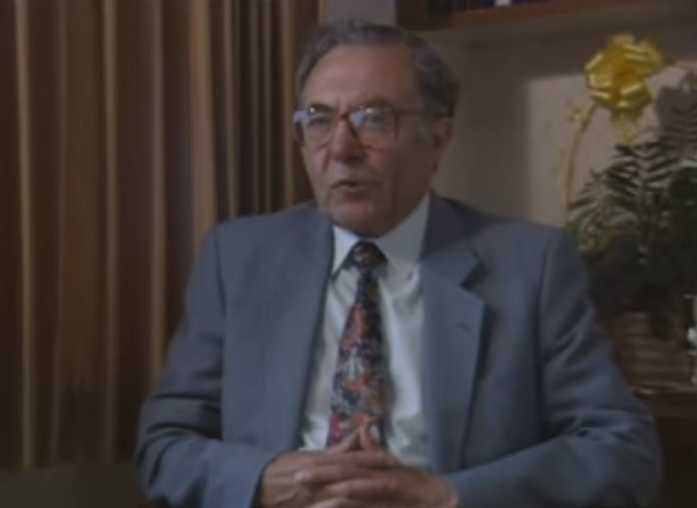 Mayer in a testimony interview conducted by the University of Southern California Shoah Foundation Institute. Image credit:    USC Shoah Foundation Institute   /   YouTube
