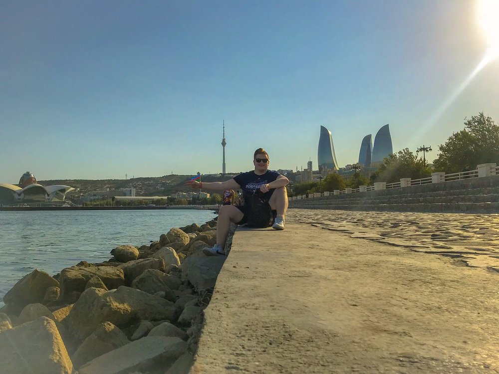 Enjoying the Caspian Sea coastline in Baku, Azerbaijan.
