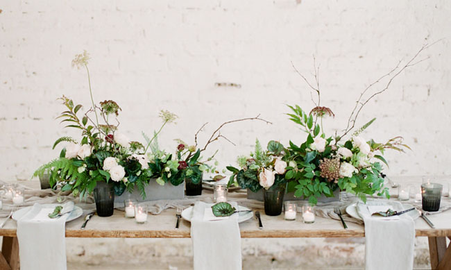 Wild and natural wedding centerpieces
