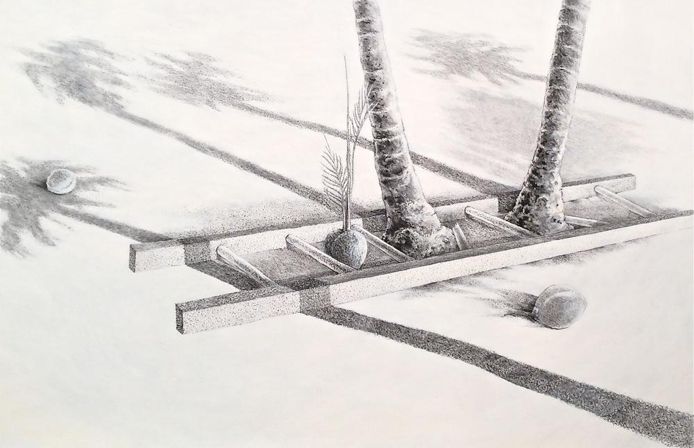 "Lineage (2005)  charcoal, acrylic  32"" H x 49"" W"