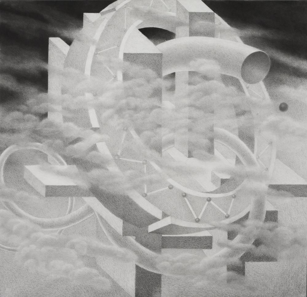"Vantongerloo at Wilmerding (2013)  charcoal, graphite  43"" H x 44"" W"