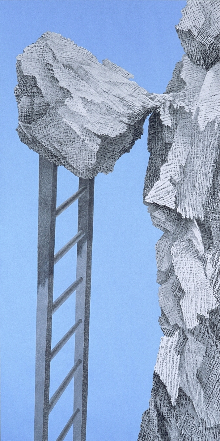 """Optimism (2003)  graphite frottage, acrylic  60"""" H x 30"""" W"""