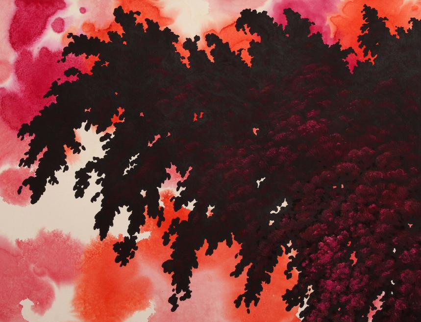 "Shaman (2010)  watercolor, acrylic, pastel  28"" H x 38"" W"