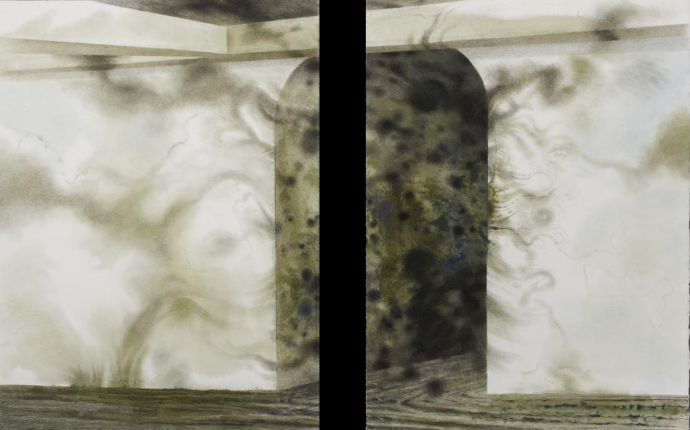 "Pittsburgh Passage II (2012)  mixed media  30"" H x 50"" W"