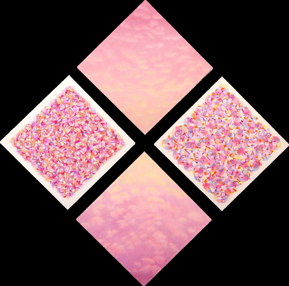 "Bougainvillea – Daybreak (2010)  watercolor, acrylic, pastel  68"" H x 68"" W"