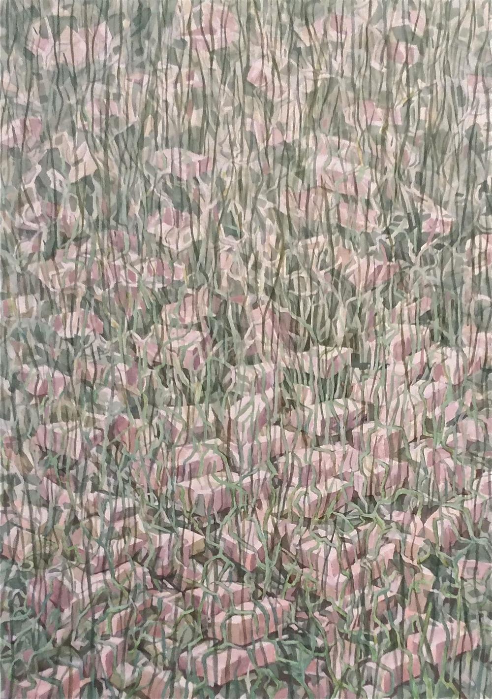 """Unplanted Garden - Brick (2013)  watercolor & acrylic  41 3/4"""" H x 29 1/2"""" W"""
