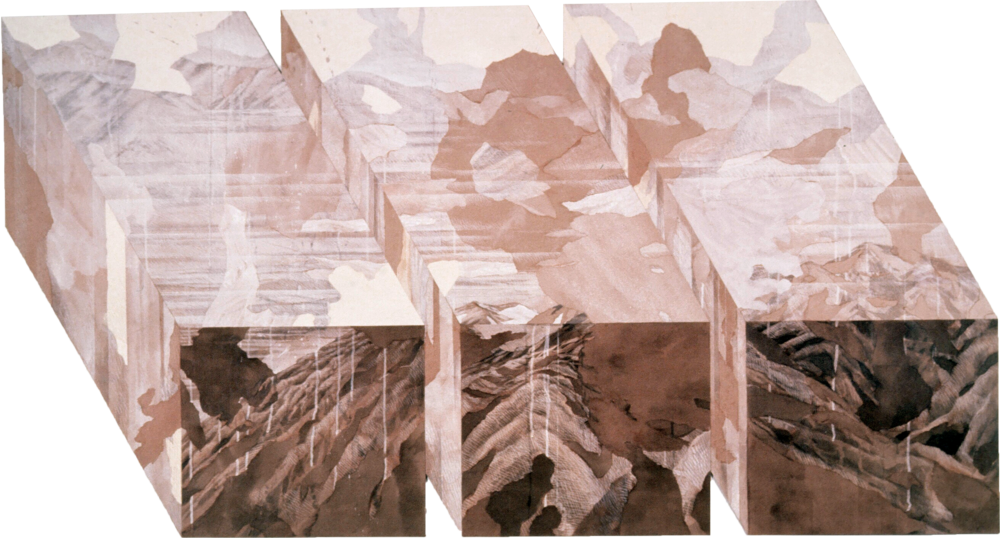 """Landparcel (1982)  sepia ink, gesso, acrylic paper collage  45"""" H x 80"""" W"""