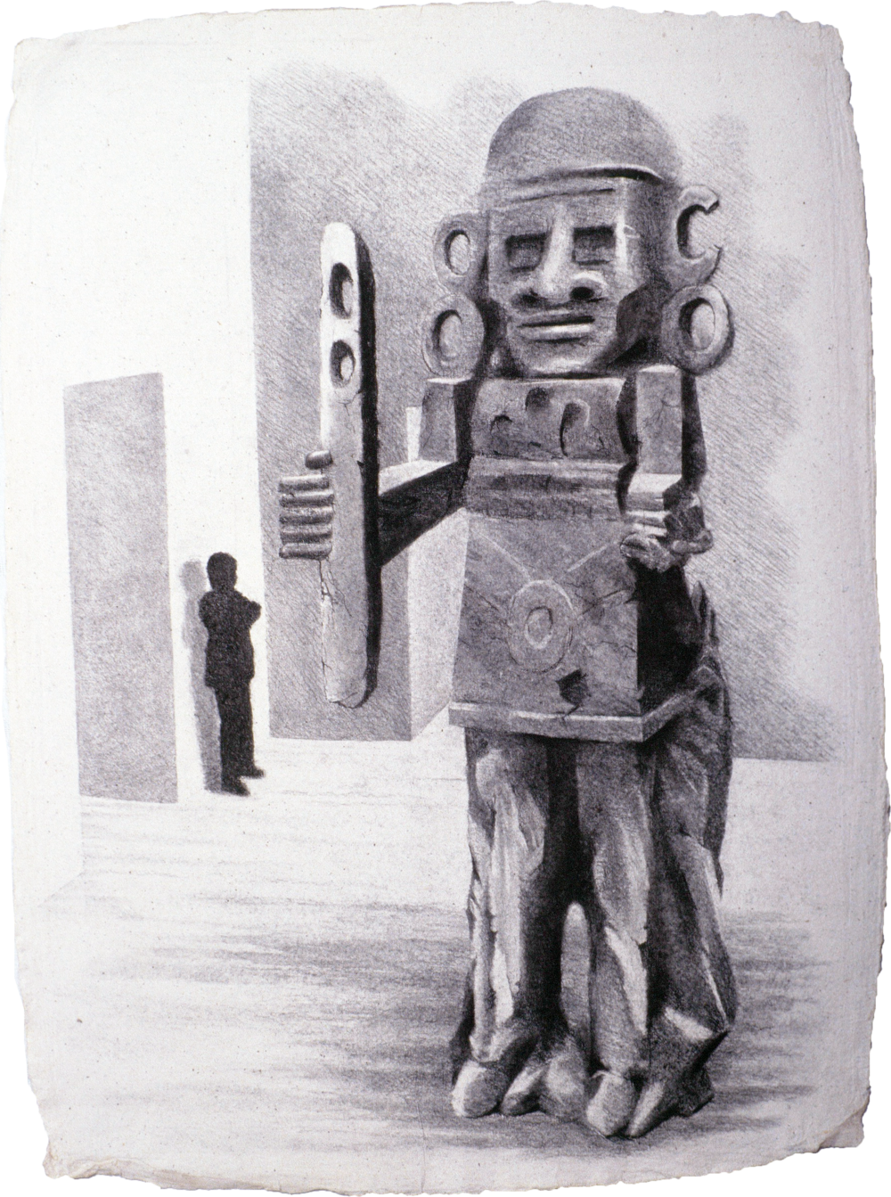 """At the MET - Guardians (1999)  charcoal  30"""" H x 22"""" W"""