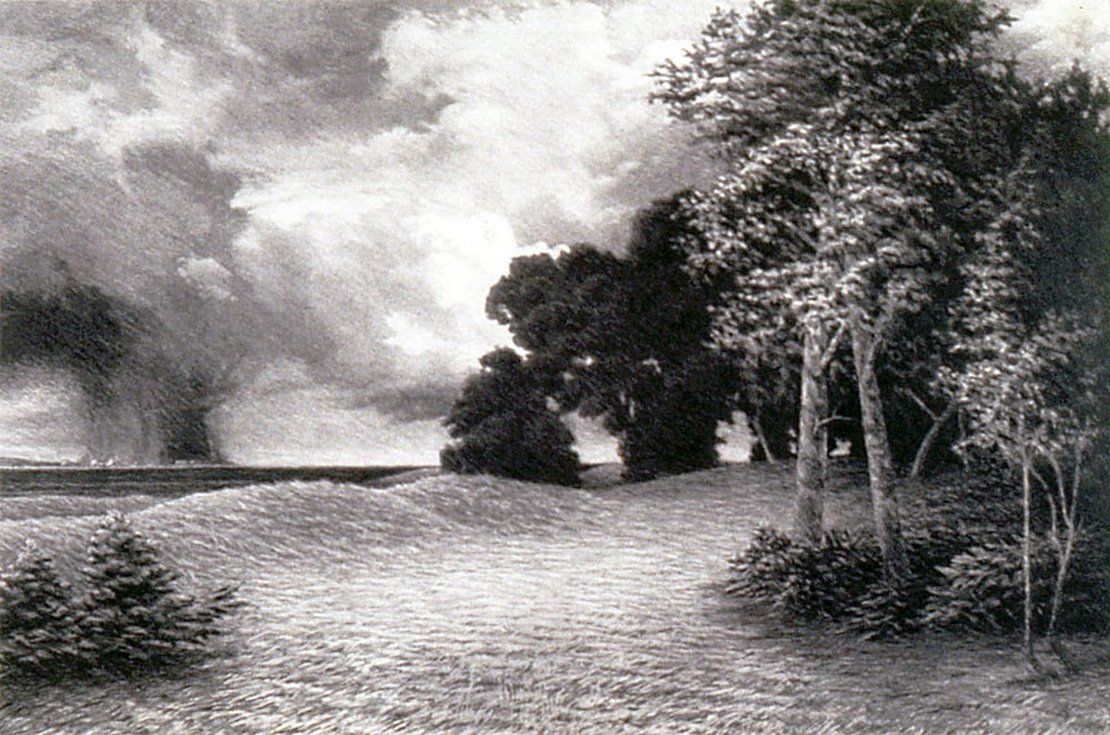 "Landscape after Moran's  Autumn near Peconic Bay  (1972)  charcoal  22"" H x 30"" W"