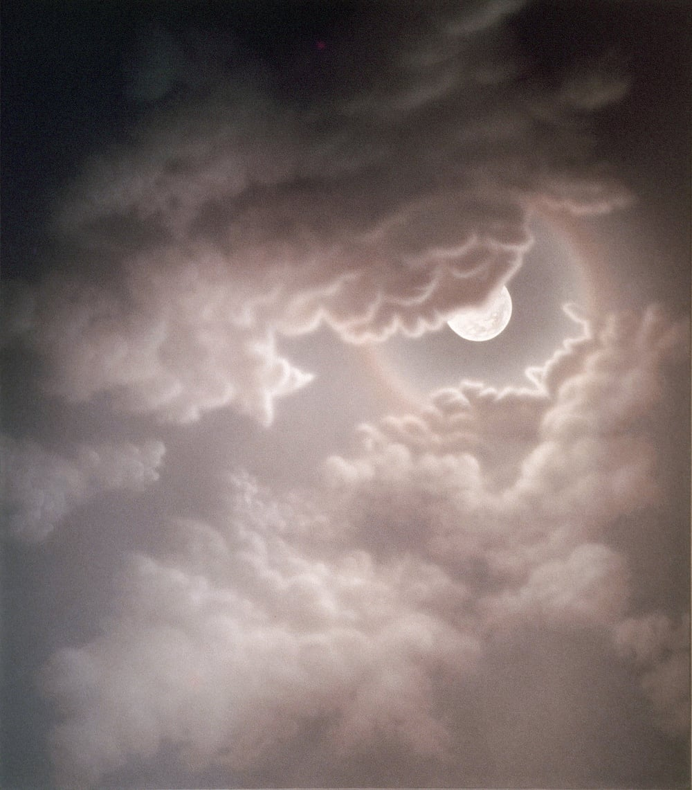 "Lunar Halo (1972)  acrylic on canvas  84"" H x 72"" W"