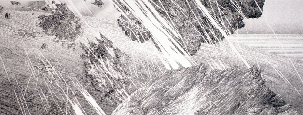 "Volcanic Phenomena: Bombing (1989)  xerox printed drawing  35"" H x 91"" W"