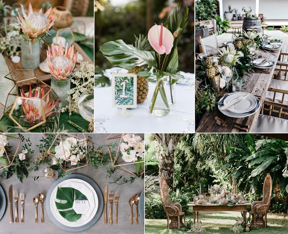 Decoración de mesas para boda tropical