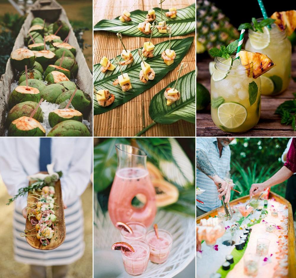Banquete y bebidas para boda tropical