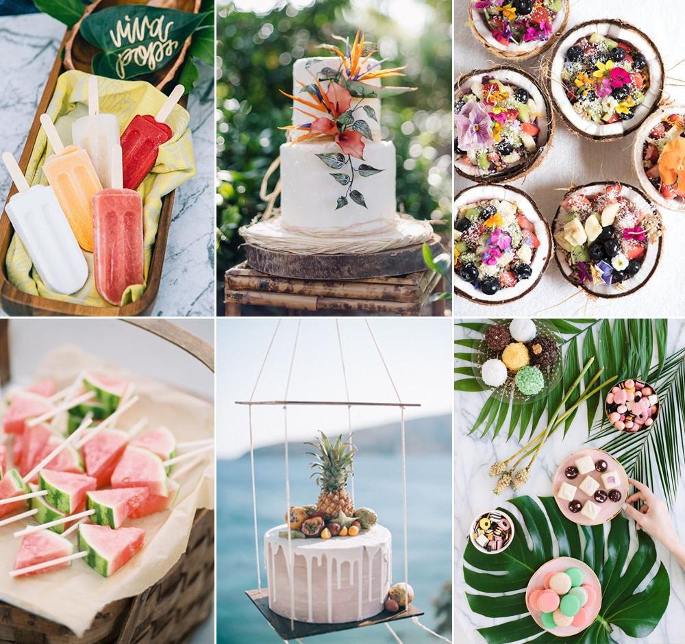 Pastel y postres para boda tropical