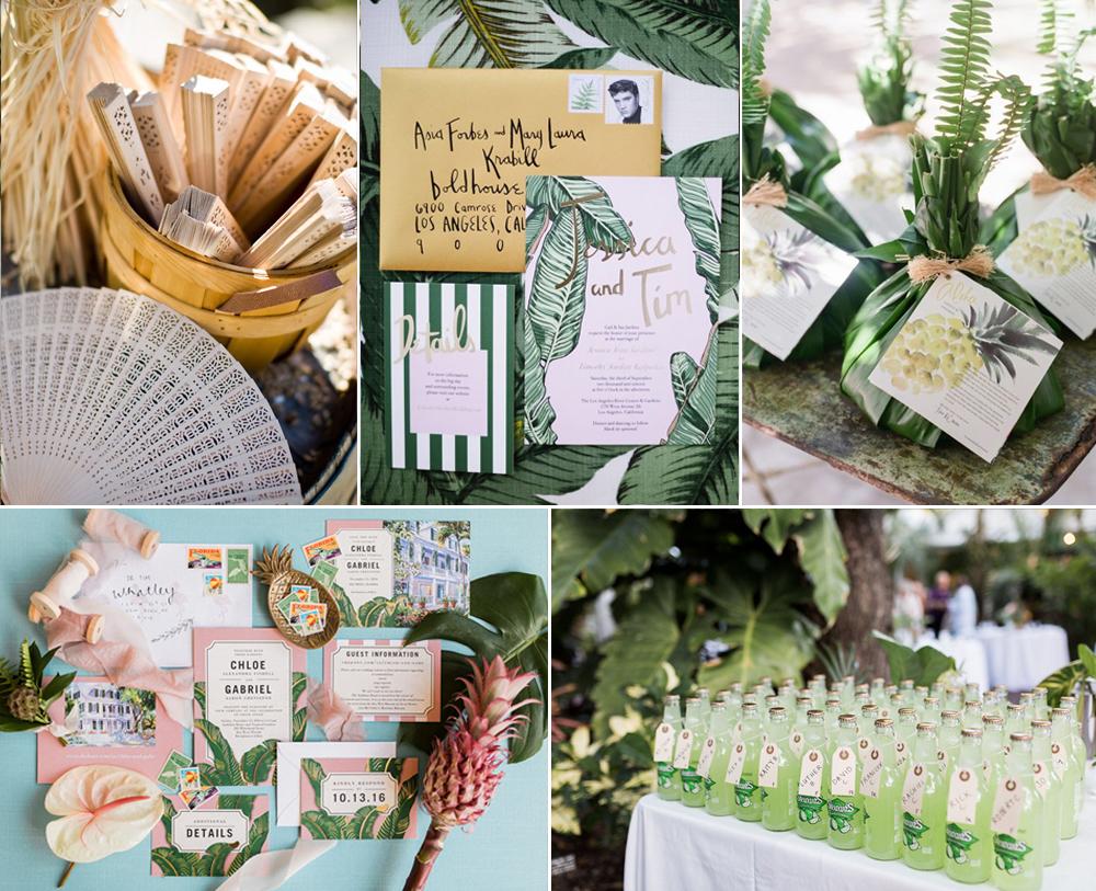 Invitaciones y recuerdos para boda tropical