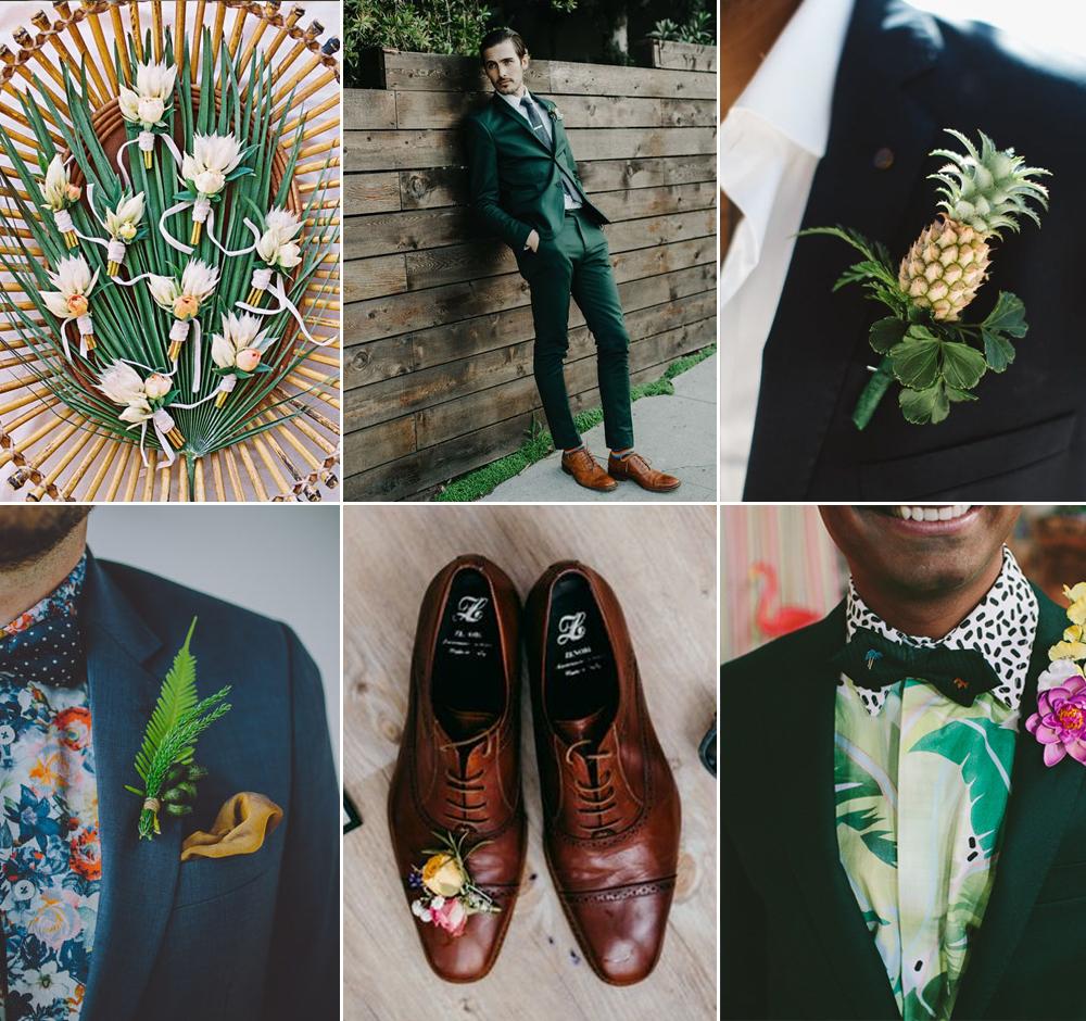 Look de novio para boda tropical