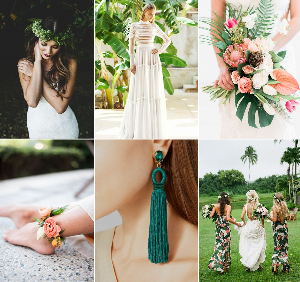 Look de novia para boda tropical