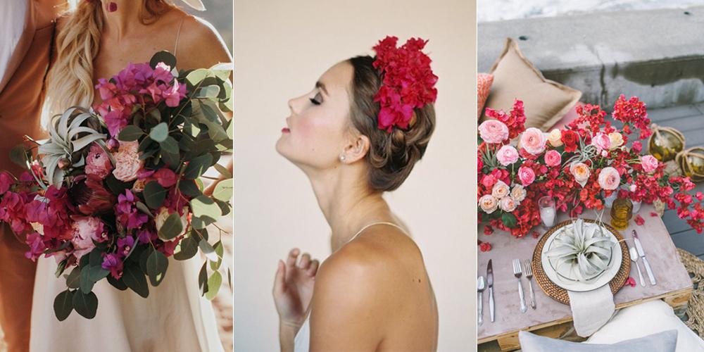 decoración con bugambilias para bodas