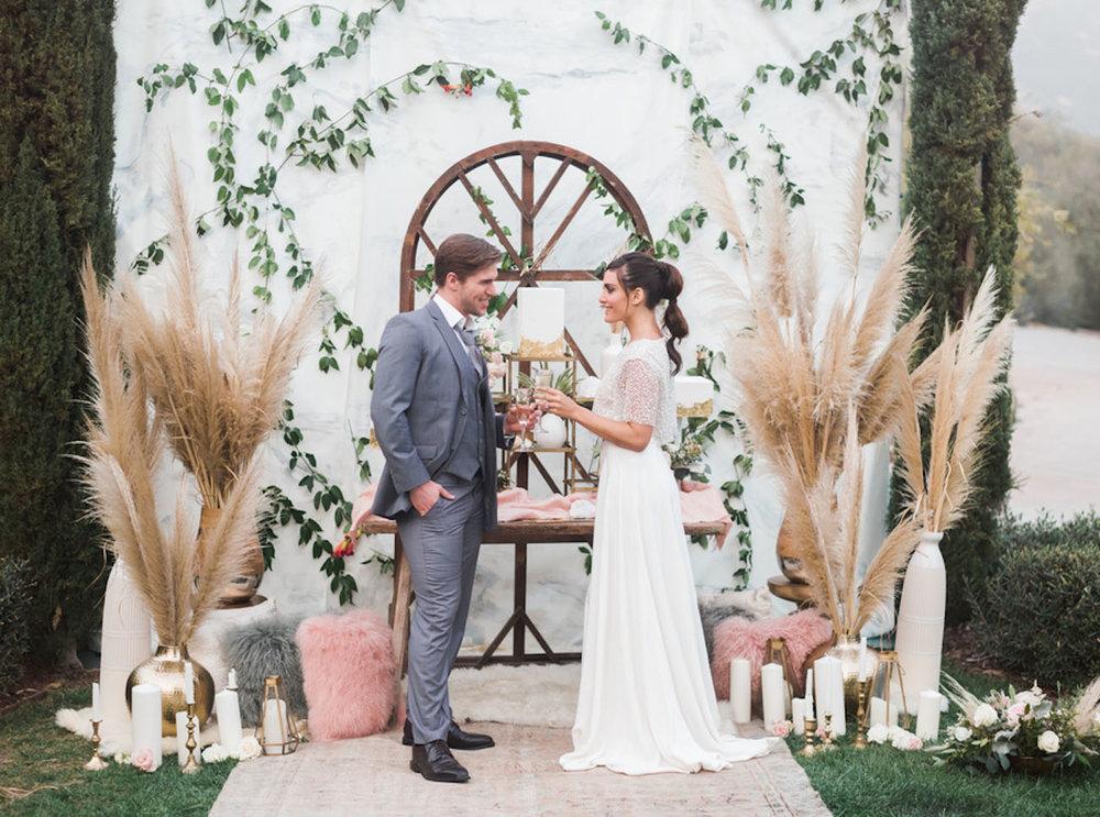 Decoración boda pampas grass