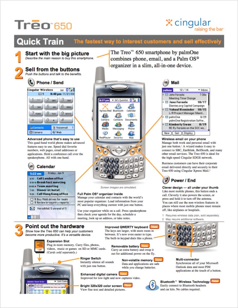 QuickTrain sales training slicks  palmOne  Five-minute sales training on paper that that taught how to quickly present the advantages of the device, how to use the device, and understand how this would help their personal bottom line.    READ MORE >>